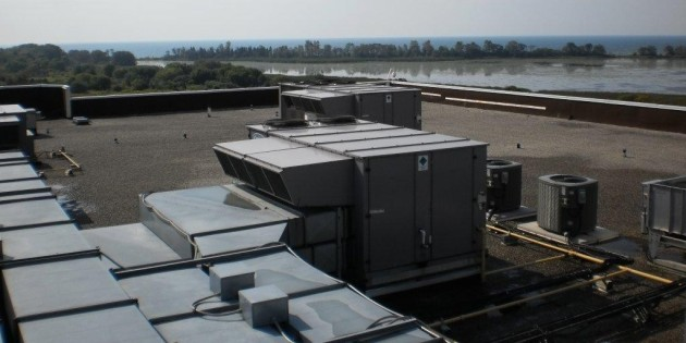 Rooftop view of an HVAC project completed by Rymar Mechanical